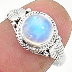 2.42cts solitaire natural rainbow moonstone 925 silver ring size 6 t6635