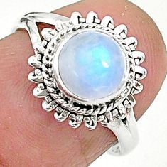 2.43cts solitaire natural rainbow moonstone 925 silver ring size 6 t6640
