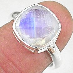 5.23cts solitaire natural rainbow moonstone 925 silver ring size 6 t8225