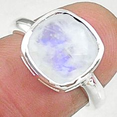 5.13cts solitaire natural rainbow moonstone 925 silver ring size 6 t8234