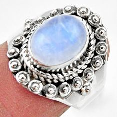 4.43cts solitaire natural rainbow moonstone 925 silver ring size 7 r49422