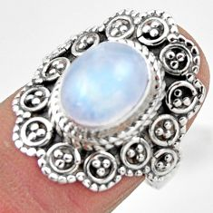 4.15cts solitaire natural rainbow moonstone 925 silver ring size 7 r49428