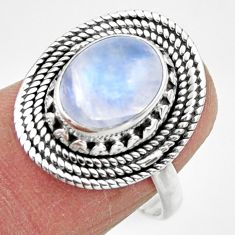 4.17cts solitaire natural rainbow moonstone 925 silver ring size 7 r49441