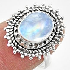 3.96cts solitaire natural rainbow moonstone 925 silver ring size 7 r49442