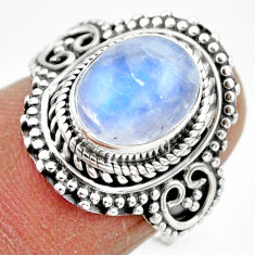 4.18cts solitaire natural rainbow moonstone 925 silver ring size 7 r49445