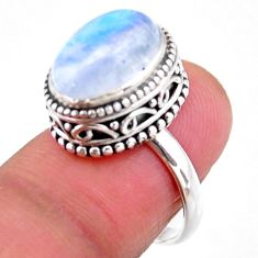 5.30cts solitaire natural rainbow moonstone 925 silver ring size 7 r51391
