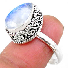 5.31cts solitaire natural rainbow moonstone 925 silver ring size 7 r51422