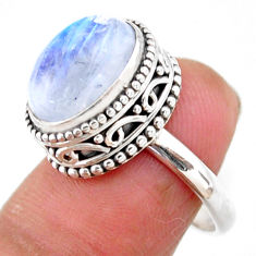 4.82cts solitaire natural rainbow moonstone 925 silver ring size 7 r51433