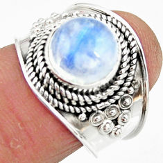 4.73cts solitaire natural rainbow moonstone 925 silver ring size 7 r51923