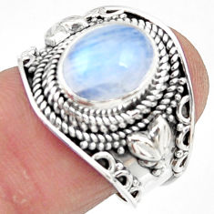 4.38cts solitaire natural rainbow moonstone 925 silver ring size 7 r51935