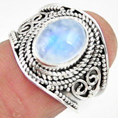 4.21cts solitaire natural rainbow moonstone 925 silver ring size 7 r51948