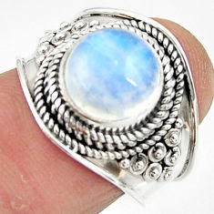 4.52cts solitaire natural rainbow moonstone 925 silver ring size 7 r51949