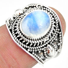 4.52cts solitaire natural rainbow moonstone 925 silver ring size 7 r51951