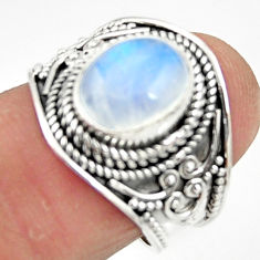 4.21cts solitaire natural rainbow moonstone 925 silver ring size 7 r51952