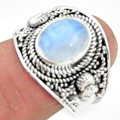 4.30cts solitaire natural rainbow moonstone 925 silver ring size 7 r51956