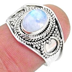 2.17cts solitaire natural rainbow moonstone 925 silver ring size 7 t10064