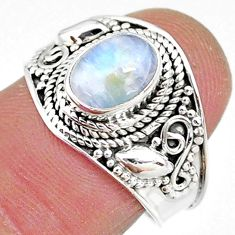 2.08cts solitaire natural rainbow moonstone 925 silver ring size 7 t10074