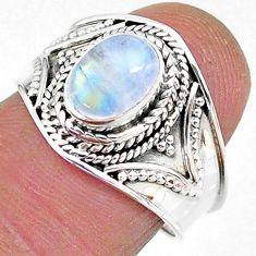 2.05cts solitaire natural rainbow moonstone 925 silver ring size 7 t10077