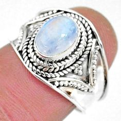 2.17cts solitaire natural rainbow moonstone 925 silver ring size 7 t10078
