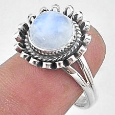 3.14cts solitaire natural rainbow moonstone 925 silver ring size 7 t15519