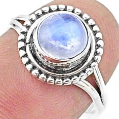 2.42cts solitaire natural rainbow moonstone 925 silver ring size 7 t15655