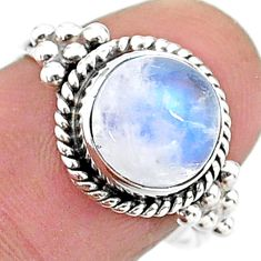 4.75cts solitaire natural rainbow moonstone 925 silver ring size 7 t15776