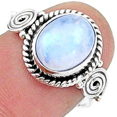 4.06cts solitaire natural rainbow moonstone 925 silver ring size 7 t15798
