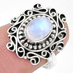 2.08cts solitaire natural rainbow moonstone 925 silver ring size 7 t15813