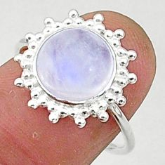 5.08cts solitaire natural rainbow moonstone 925 silver ring size 7 t1592