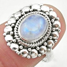 3.14cts solitaire natural rainbow moonstone 925 silver ring size 7 t20079