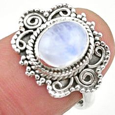 3.07cts solitaire natural rainbow moonstone 925 silver ring size 7 t20217