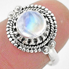 2.44cts solitaire natural rainbow moonstone 925 silver ring size 7 t3526