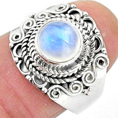 2.84cts solitaire natural rainbow moonstone 925 silver ring size 7 t3529