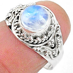 2.44cts solitaire natural rainbow moonstone 925 silver ring size 7 t3542