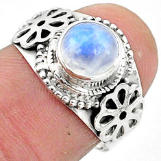 2.43cts solitaire natural rainbow moonstone 925 silver ring size 7 t3557
