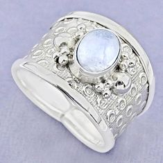 1.95cts solitaire natural rainbow moonstone 925 silver ring size 7 t37178