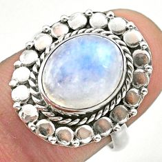 5.14cts solitaire natural rainbow moonstone 925 silver ring size 7 t39856