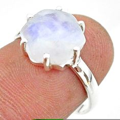 5.09cts solitaire natural rainbow moonstone 925 silver ring size 7 t43042