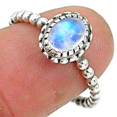 1.51cts solitaire natural rainbow moonstone 925 silver ring size 7 t6355