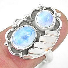 3.68cts solitaire natural rainbow moonstone 925 silver ring size 7 t6439