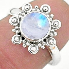 2.50cts solitaire natural rainbow moonstone 925 silver ring size 7 t6582