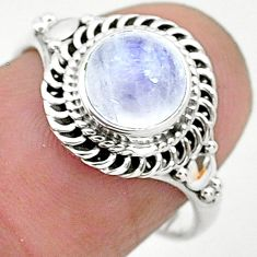 2.55cts solitaire natural rainbow moonstone 925 silver ring size 7 t6613