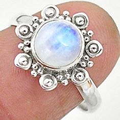 2.38cts solitaire natural rainbow moonstone 925 silver ring size 7 t6615