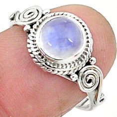 2.42cts solitaire natural rainbow moonstone 925 silver ring size 7 t6621