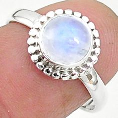 2.50cts solitaire natural rainbow moonstone 925 silver ring size 7 t6626