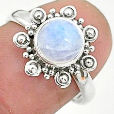 2.42cts solitaire natural rainbow moonstone 925 silver ring size 7 t6637