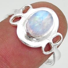 2.60cts solitaire natural rainbow moonstone 925 silver ring size 8 r40519