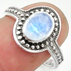 1.94cts solitaire natural rainbow moonstone 925 silver ring size 8 r40598