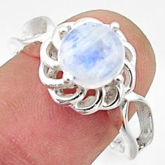 3.26cts solitaire natural rainbow moonstone 925 silver ring size 8 r40677