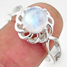 3.48cts solitaire natural rainbow moonstone 925 silver ring size 8 r40678
